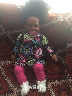 African American 26Ethnic Large Reborn Doll Baby'Cookie' 9 mos Donna RuBurt
