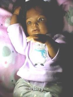 African American AA, Biracial, Ethnic Latina, Reborn Baby Girl Doll Kimber
