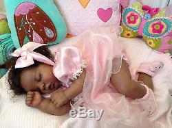 African American AA Ethnic Reborn Girl by Twisted Bean Stalk Nursery Human Hair