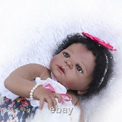 African American Baby Girl Black Skin Full Body Silicone Vinyl Reborn Baby Dolls