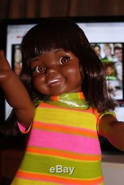 African American Black Ideal Giggles Doll Mint! She Works! Original Box & Outfit