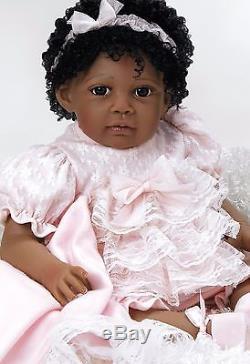 African American Ethnic Doll Realistic Reborn Baby Girl Lifelike Black Hair
