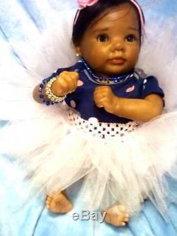 African American, Ethnic Realistic Preemie Baby Girl Doll, Dumplin
