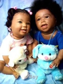African American, Ethnic Realistic Twins Toddlers Doll, Kenzie and Amelia