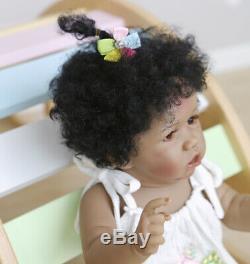 African American Girl 22 Reborn Baby Dolls Handmade Lifelike Silicone Full Body