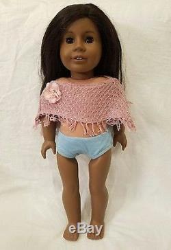 African American Girl Doll Brown Eyes Long Hair Dark Skin Accessories Robe Surf