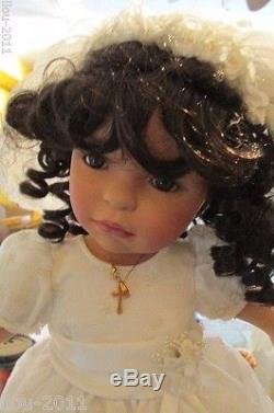 African American Porcelain Doll by Pamela Erff 20 Tall First Communion