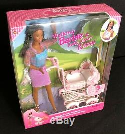 African American Walking Barbie & Krissy 1999 Mattel 22307 AA NEW NIB Rare