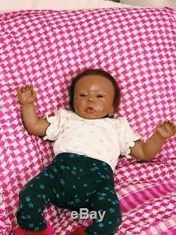 African American tiny reborn baby girl