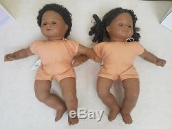 American Girl Bitty Baby Twins African American Brown Hair Eyes Clothes Shoes