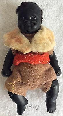 Antique African American Black Painted Doll with Indigo Blue Eyes