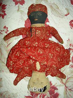 Antique Americana early TOPSY-TURVY African American primitive cloth doll 13 1/2