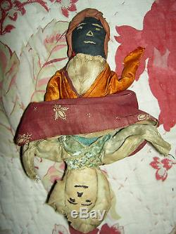 Antique Americana early TOPSY-TURVY African American primitive cloth doll 13.5in