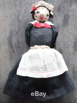 Antique FOLK ART Vintage Doll TOPSY TURVY Brand-African American+Caucasian Maids