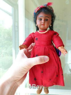 Antique doll black doll brown bisque with pearl earrings very cute girl