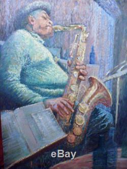 Archibald John Jr. MOTLEY (1891-1980) African-American -JAZZMAN WITH SAXOSOPHONE