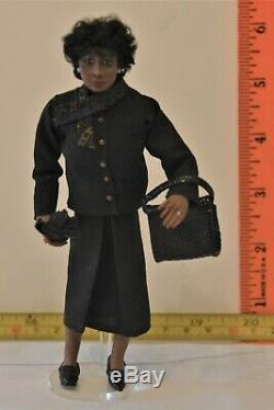 Artisan Glenda Hooker Lady in Black Doll African American Miniatures OOAK 112