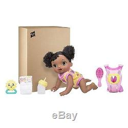 BABY ALIVE Go Bye Bye African American Brunette Doll Talking Crawling NEW