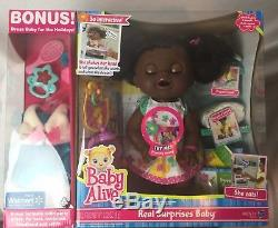 Baby Alive Real Surprises African American Exclusive Doll Bonus Holiday Dress