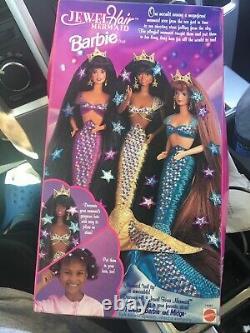 Barbie 1995 Mattel Jewel Hair Mermaid African American Doll No. 14587 Damage Box