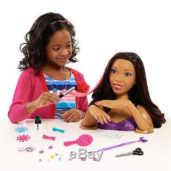 Barbie Color Cut N Curl Deluxe Styling Head Doll Playset Black African American