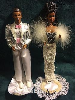 Barbie doll lot of TWO, Silver formal, African American, couple, NO BOX