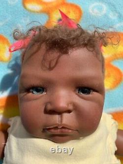 Beautiful African American Reborn Vinyl Doll 21.5 length