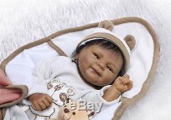 Biracial Ethnic Real Life Reborn Baby Dolls Black Boy Preemie Soft Silicone Doll