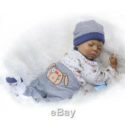 Black Boy Reborn Baby Dolls Silicone Vinyl 22in Realistic Newborn Baby Dolls Boy