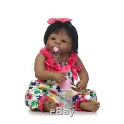 Black Cute Newborn Baby Girl Silicone Full Body Reborn Doll African American 23