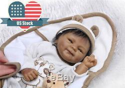 Black Dolls 18 inch Real Life Reborn Baby Dolls Biracial Newborn Baby Boy Dolls