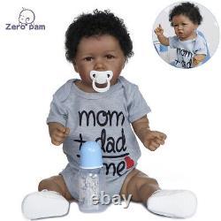 Black Dolls Reborn African American Baby Boy Realistic Dolls Silicone Full Body