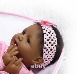 Black Silicone Reborn Baby Dolls Girl 22' Toddler Baby Vinyl Doll Black Skin