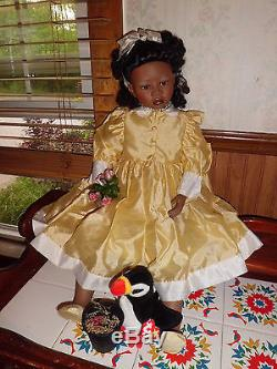 Christine Orange 30 tall Maddison African American porcelain doll withcoa