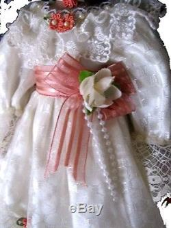 Collector's Black African American Porcelain Girl Doll 16 White&Rose Lace Dress