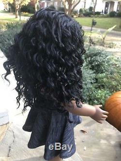 Custom American Girl, African American Gabriela, New kinky black wig, dark skin