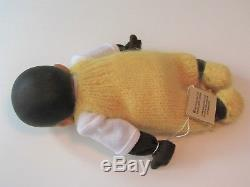 ELISABETH PONGRATZ African American Sleeping Baby Yellow Knit Sand Filled 7.5