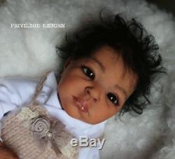ETHNIC LIFELIKE reborn baby girl, THANDIE BY ADRIE STOETE, ART PIECE