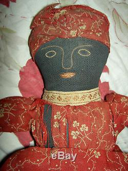 Early antique Americana TOPSY-TURVY African American primitive cloth doll 12 1/2
