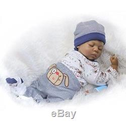Ethnic Reborn Baby Doll Realistic Soft Silicone Newborn Black African American