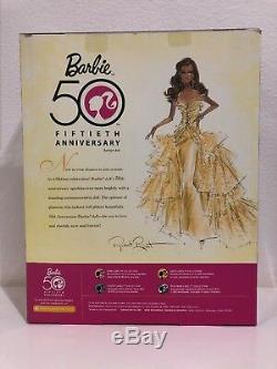 Fiftieth Anniversary Barbie Doll Gold Glamour Collector African American AA 50