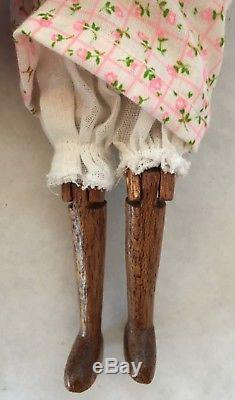 Folk Art Hand Carved Peg Jointed Dark Wood Doll 8 African American AA