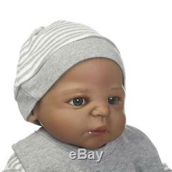 Full Body Silicone Baby 23 Bathable Reborn Baby Dolls African American Boy Gift