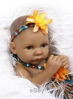 Full Body Silicone Reborn Baby Girl Doll Mini 11 Black Real African American