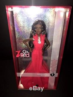 Go Red Barbie Doll African American AA 2007 Red Gown Model Muse # L4103 Mattel