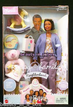 Grandma Happy Family African American Barbie Doll Grandmother NRFB Dented Box AA