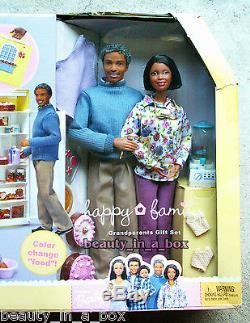 Grandma's Kitchen Happy Family Barbie Doll Grandpa African American NRFB Tear AA