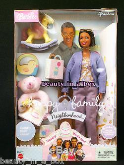 Grandpa Grandma Happy Family Barbie Doll AA African American NRFB Smashed Boxes