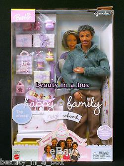 Grandpa Grandma Happy Family Barbie Doll African American NRFB Smashed Boxes AA