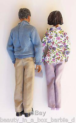 Grandpa Grandma Happy Family Barbie Ken Doll African American AA Eyeglasses Flow